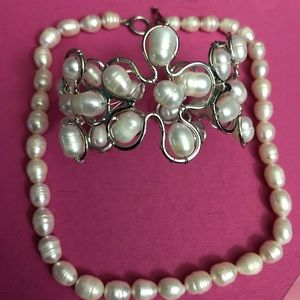 Baroque Freshwater Pearl Jewelry - Freshwater Baroque white pearl necklace& bracelet